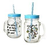 Einhorn Glas in blau mit Strohhalm - Einhorn Trinkglas Weisheit