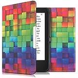 kwmobile Hülle für Tolino Shine 2 HD - Flipcover Case eReader Schutzhülle - Bookstyle Klapphülle Regenbogen Würfel Design Mehrfarbig Grün Blau