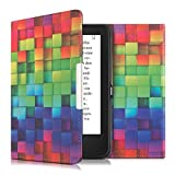 kwmobile Cover per Tolino Shine 2 HD - Custodia protettiva a libro per e-reader in similpelle - Case flip per e-book reader Design cubi arcobaleno multicolore verde blu