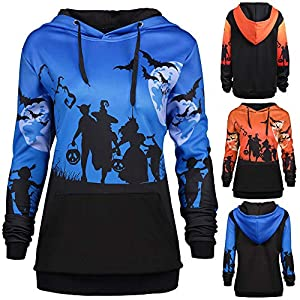 Festiday Sweatshirts for Women with Pockets 2018 New Casual Women's Novelty Clothing Women Hooded Halloween Moon Bat Print Drawstring Pocket Hoodie Sweatshirt Tops