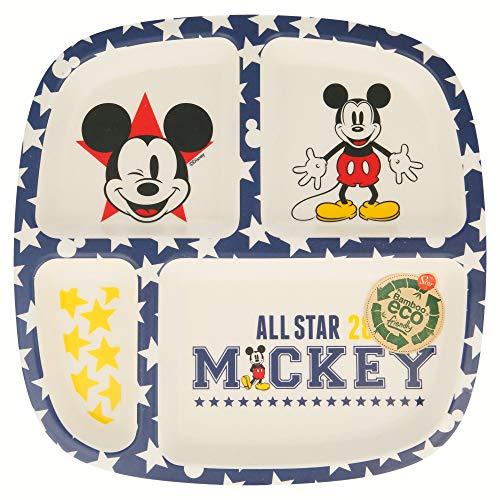 Mickey Mouse - Plato Bambú Dividido All Star, Multicolor (Stor ST-01323)