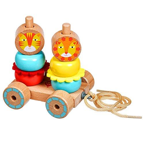 Lucy&Leo Löwe Familie Sortier, Stapel & Steckspielzeug Schieben und Ziehen Lernspielzeug aus Holz Lernspielzeug aus Holz für Kleinkinder für Baby Boy und Baby Girl