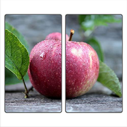 Apfel 2 Set Glas Abdeckplatte 2x30x52 Schneidebrett Herdabdeckplatte