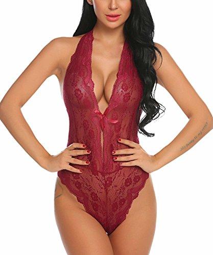 ADOME El Cordón Floral Lencería Mujeres Sujetador Bustier Top sin relleno Tanga(Rojo XXL)