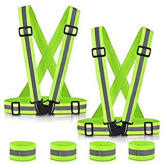 Aibesser Reflective Running Gear Safety Vest, High Visibility Outdoor Safety Vest Belt with Reflective Cuffs for Night Outdoor Traffic Activities Cycling, Walking, Running and Working(2 Packs)