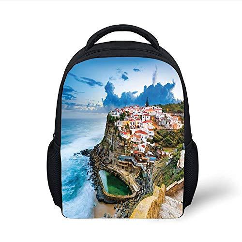 Kids School Backpack Mediterranean,Portuguese Town Coast Azenhas do Mar Beach by Cliffs Village Shore Theme,Multicolor Plain Bookbag Travel Daypack