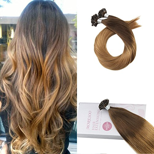 Moresoo 16 Pouces 50g Chocolat marron to Caramel Blond Naturels Ombre Kératine Pre-bonded U Tip 100% Remy Humains Extensions 1g/mèche Tie and Dye Cheveux Extensions de Cheveux Humains Bresiliens