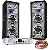 """Kit sono DJ """"White Noise"""" • Amplificateur de sono de 2x 500 w max de puissance à 4 ohms • Lecteur MP3 avec entres USB/SD & radio FM • Paire d'enceintes de sono passives 3 voies avec 2x woofers mid-low de 8"""" • Tableau de bord • 6 réglages d'égaliseur"""