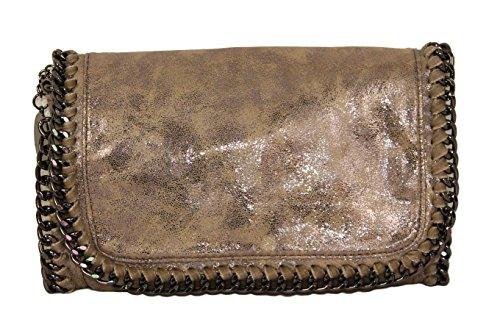 Pochette da donna, Lani, piccola, effetto pelle, glitter, effetto metallizzato, con catenella, Schwarz Glitzer Big (nero) - 1211161254 Gold Glitzer