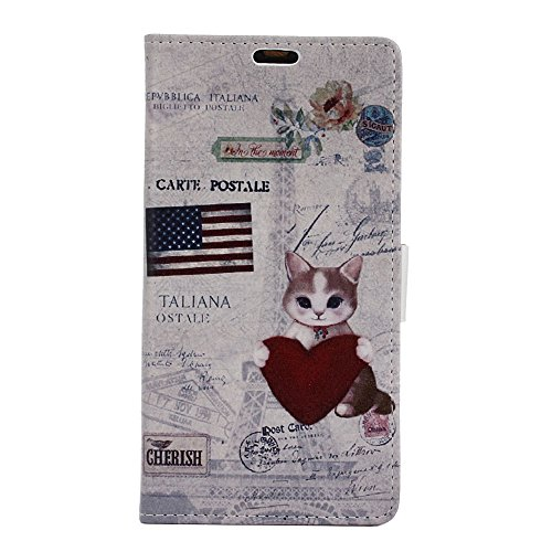 Wiko Sunny 3 Coque,Modèle Peint Magnetic Clasp PU Cuir Housse Étui Cover Case à Rabat Couverture Portefeuille with Card Slots Cover avec Porte-Carte Stand pour Wiko Sunny 3/ Sunny III (Chat)