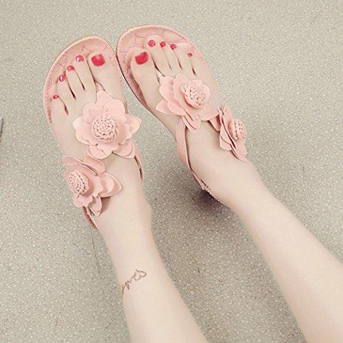 HCFKJ 2017 Mode Frauen Flache Schuhe Blumen Bohemia Leisure Sandalen Peep-Toe Flip Flops Schuhe Pink