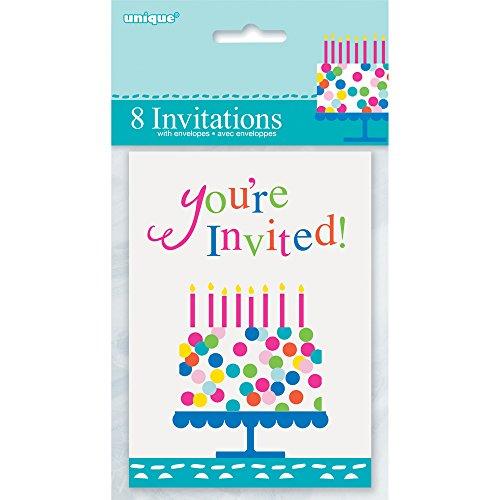 Unique Party Supplies Konfetti Kuchen Geburtstag Einladungen, 8Stück (Sweet 16 Party-einladungen)