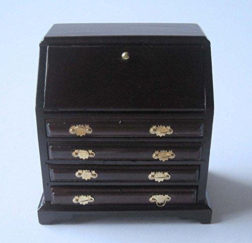 Braun Sekretär Schreibtisch (Sekretär Schreibtisch braun Puppenhaus Möbel Wohnzimmer Miniatur 1:12)