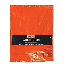 988545cbe2a2 Fête Jupe de table en plastique orange 4m27