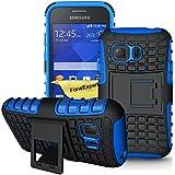 Samsung Galaxy Young 2 Funda, FoneExpert® Heavy Duty silicona híbrida con soporte Cáscara de Cubierta Protectora de Doble Capa Funda Caso para Samsung Galaxy Young 2 SM-G130 + Protector Pantalla (Azul)