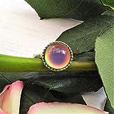 Anillo de humor de plata esterlina, tamaño ajustable, piedra de humor redonda de 12 mm, anillo que cambia de color