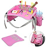 Travel Tray, EocuSun Kids Snack Play Trays with Mesh Pockets and Cup Holders as Portable Seat Cushion Shoulder Bag Journeys Drawing Board for Childrens Stroller Pushchair Car Safety Seat (Pink)