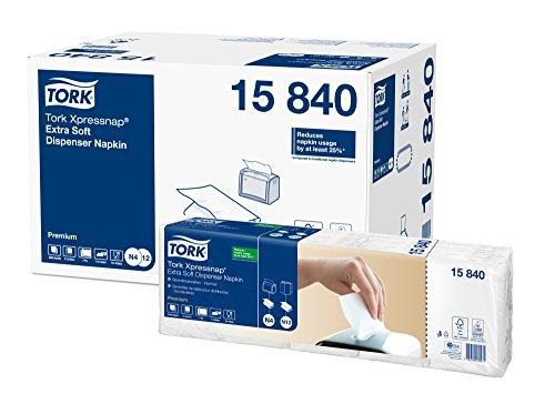 Tork 15840 Xpressnap Extra Soft Spenderserviette unbedruckt/Weiße Papierserviette für Serviettenspender N4 / 8x500 Stück