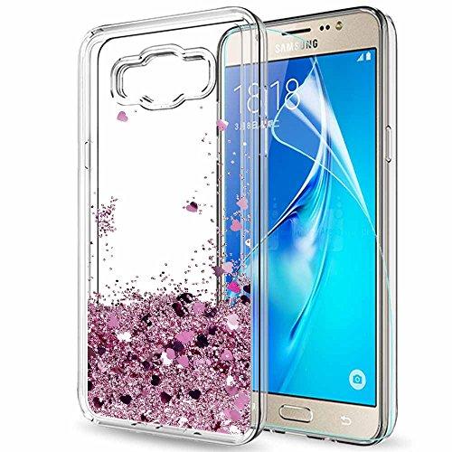 e29efb86009 LeYi Funda Samsung Galaxy J7 2016 Silicona Purpurina Carcasa con HD  Protectores de Pantalla,Transparente