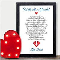 Walk with me Grandad Personalised Poem Keepsake Christmas Birthday Xmas Gifts - PERSONALISED with ANY NAME and ANY RECIPIENT - Black or White Framed A5, A4, A3 Prints or 18mm Wooden Blocks