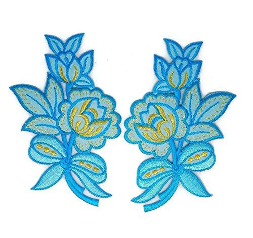 Pair Blau Gold Rose Trim Floral Flower Patch Sew Iron on gesticktes Badge Symbol Custom Floral Gold Trim