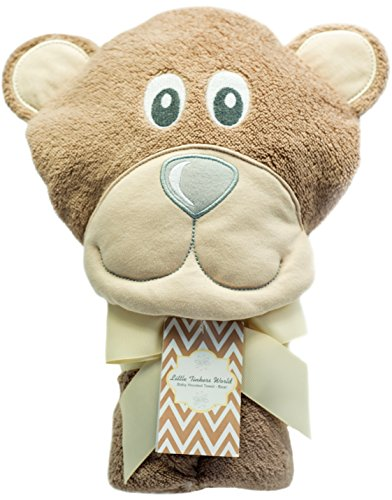 Little Tinkers World Bear Hooded Baby Towel, Natural Cotton, Large 30×30-Inch size