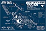 Star Trek Poster NCC-1701 Blueprint (91,5cm x 61cm) + Original tesa Powerstrips (1 Pack/20 STK.)