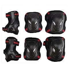 Idea Regalo - EONPOW Kit protezione per ginocchia gomiti polsi pattini in linea ginocchiere gomitiere e polsiere per bambini, durevole in bicicletta pattinaggio ginocchio pastiglie gomito pastiglie polso cuscinetti protettivi Set