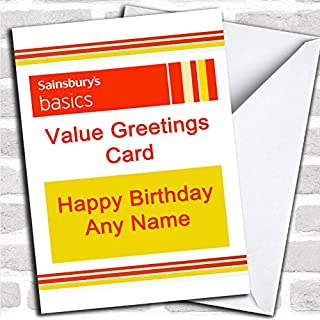 Funny Joke Sainsbury's Basics Spoof Birthday Card With Envelope, Can Be Fully Personalised, Dispatched Fast & Free