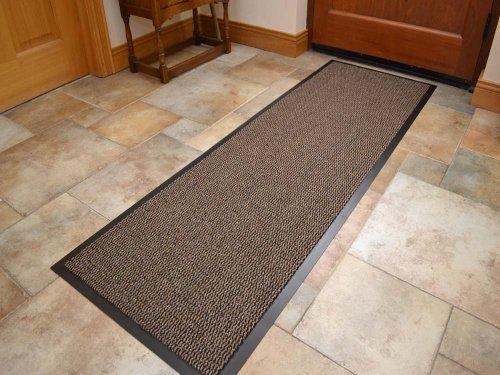Alfombra de pasillo, resistente, PVC, borde de goma negro, extragrande, 60x 180cm, color beige