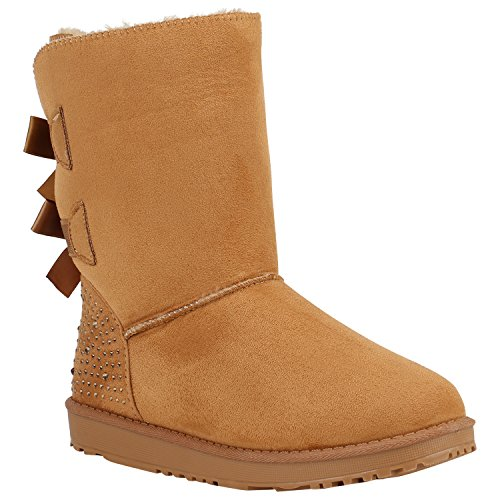 Damen Schlupfstiefel Warm Gefütterte Stiefel Schleifen Ketten Nieten Print Schuhe Blumen Pailletten Winter Boots Flandell Hellbraun Strass