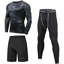 3 Niksa Pieces Compression T-Shirt Set Sportswear Man Shorts and Leggings and Tops Tight Quick Dry for Running Fitness Yoga Workout (Long sleeves (163512), M)