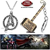 (2 Pcs AVENGERS SET) - AVENGERS SILVER LARGE LOGO IMPORTED METAL PENDANT & THOR HAMMER (GOLD) KEYCHAIN. LADY HAWK DESIGNER SERIES 2018. ❤ ALSO CHECK FOR LATEST ARRIVALS - NOW ON SALE IN AMAZON - RINGS - KEYCHAINS - NECKLACE - BRACELET & T S