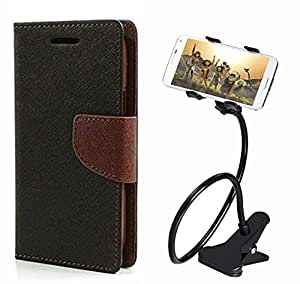 Aart Fancy Diary Card Wallet Flip Case Back Cover For HTC816 - (Blackbrown) + 360 Rotating Bed Tablet Moblie Phone Holder Universal Car Holder Stand Lazy Bed Desktop for by Aart store.