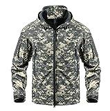 KEFITEVD Herren Militärische Taktische Softshell Jacke Fleece Kapuzenjacke Wasserabweisend ACU