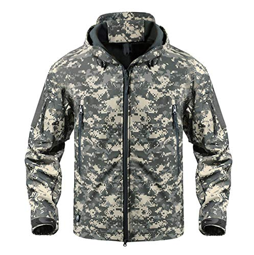 KEFITEVD Herren Militaer Taktische Softshell Jacke Fleece Kapuzenjacke Mehrere Taschen Grau