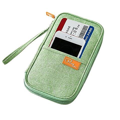 Portefeuille Passeport, iCasso Pochette étui de protection pour Passeport Pièce d'identité Carte Billet Document Téléphone Portable 5,7 Pouces Smartphone avec dragonne (Vert , 23*13 * 3