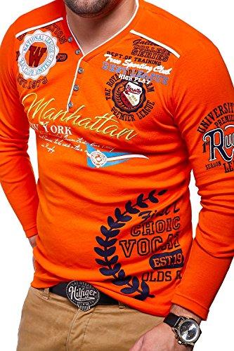 MT Styles V-Neck Longsleeve MANHATTAN T-Shirt MV-473 Orange
