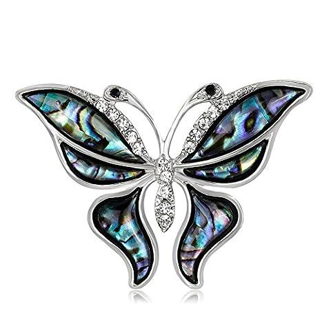 Lureme Unique Abalone Shell avec Broche Broche Papillon Strass pour Femmes et Filles (br000066)