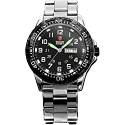 Shark Army Mens Date Day Luminous Black Military Sport Quartz Watch + Gift Box