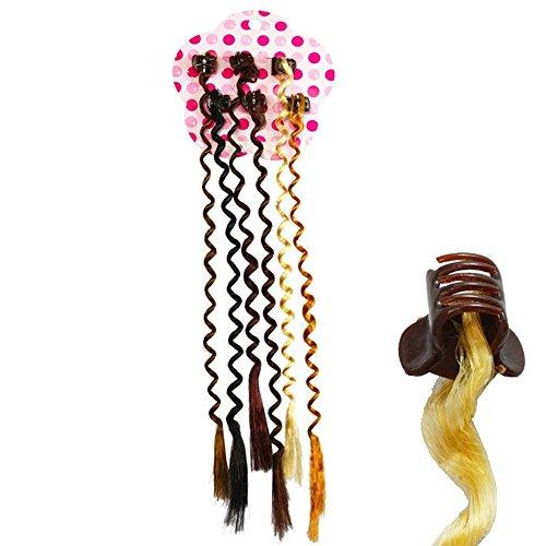Lot de 6 Mini Pinces avec Mèches de Cheveux Synthétiques - Multicolores