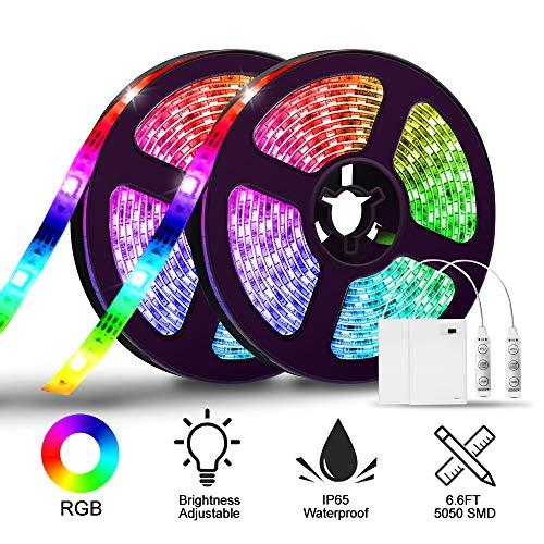 LED Streifen batterie,SOLMORE 4M LED Stripes Lichtband Stripe Lichterkette Bänder 2x 2M IP65 Wasserdicht für Innen Außen Beleuchtung Dekorative SMD5050 DC4.5V + Battery Box