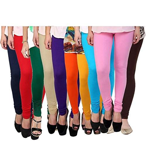 Vatsla Women\'s Cotton Leggings (Pack of 10) (VHMJ10CMBF_Multi Color _Free Size)