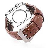 Apple Watch Band, Bandmax Echtes Lederarmband mit klassischer Gürtelschnalle Ersatzarmband...