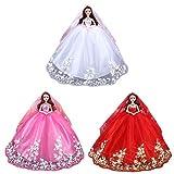 LINNUO Puppenzubehör Barbie Kleider Set Puppenkleidung Barbie Hochzeitskleid mit Pailletten Abendkleider Partykleider Barbie Prinzessin Kleid mit Schleier (Rot,Violett, Pink)
