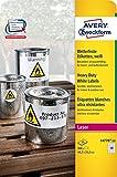 Avery Zweckform L4778-20 Wetterfeste Folien-Etiketten (A4, 960 Stück, 45,7 x 21,2 mm) 20 Blatt weiß