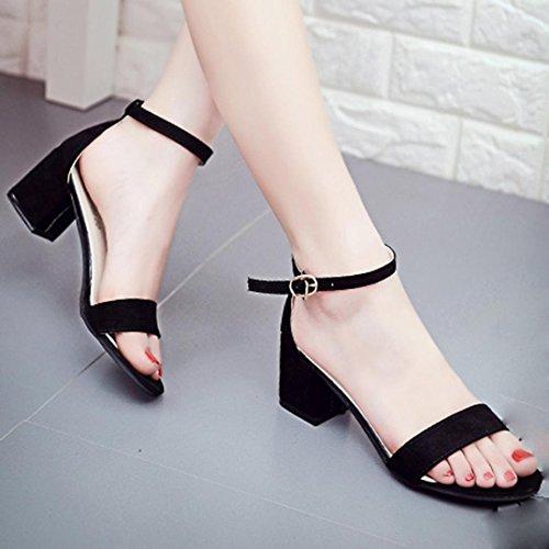 Hunpta Damen Einzel Band Chunky Heel Sandale mit Ankle Strap Sandalen Sommerschuhe Schwarz