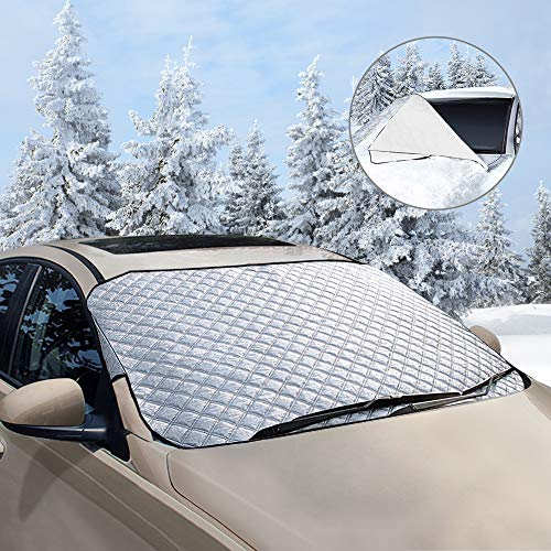 Frontscheibenabdeckung , unibelin Scheibenabdeckung Auto Abdeckung Fixierung Faltbare Abnehmbare Windschutzscheibe perfekte gegen UV-Strahlung, Schnee, EIS, Frost und Sonne