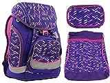 Schultaschen-Set/Rucksack für Jungen/Mädchen - sehr leicht, ergonomisch, wasserfest, top Verarbeitung inkl. isolierter Seitentasche und magnetischer Wechselsticker (Lila/Pink)