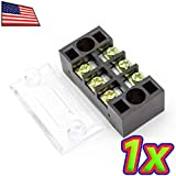 UPGRADE INDUSTRIES - [1x] 600V 15A 3 Position Dual Row Screw Terminal Block Barrier Strip Covered Bus By UPGRADE INDUSTRIES